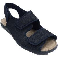 Schuhe Herren Hausschuhe Calzamur Open Man Hausschuhe mit 3 Klettverschlüs Blau