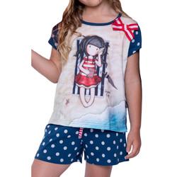 Kleidung Damen Pyjamas/ Nachthemden Admas Pyjama-Kurz-T-Shirt Sommertage Santoro marine Blau Marine