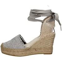 Schuhe Damen Leinen-Pantoletten mit gefloch Vidorreta 05900 SILBER