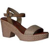 Schuhe Damen Leinen-Pantoletten mit gefloch Lola Rico 830000 Beige