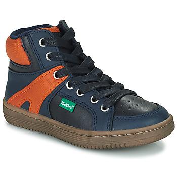 Schuhe Jungen Sneaker High Kickers Lowell Marine / Orange