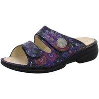 Schuhe Damen Pantoffel Finn Comfort Pantoletten Sansibar Nubuk bedruckt bunt SANSIBAR 673048 blau