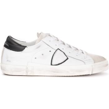 Schuhe Herren Sneaker Low Philippe Model Sneaker Paris X in Leder mit schwarzer Ferse Weiss