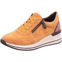 Schuhe Damen Sneaker Low Remonte Dorndorf Schnuerschuhe D3204-68 gelb