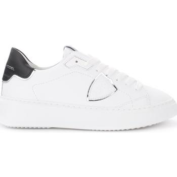 Schuhe Damen Sneaker Low Philippe Model Sneaker Temple in weißem Leder mit schwarzem und silbernem Weiss