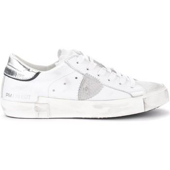 Schuhe Damen Sneaker Low Philippe Model Sneaker Paris X in pelle bianca con spoiler argento Weiss