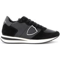 Schuhe Damen Sneaker Low Philippe Model Sneaker Tropez X in schwarzem Leder und Veloursleder Schwarz