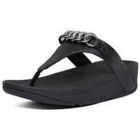 Schuhe Damen Zehensandalen FitFlop LOTTIE CHAIN TOE THONGS - ALL BLACK ALL BLACK