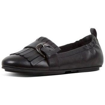 Schuhe Damen Slipper FitFlop FRANKIE FRINGE - BLACK BLACK