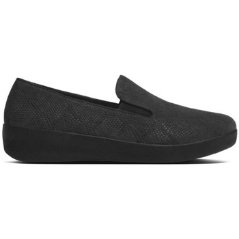 Schuhe Damen Slipper FitFlop SUPERSKATE TM- BLACK SNAKE EMBOSSED BLACK