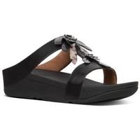 Schuhe Damen Pantoffel FitFlop FINO DRAGONFLY SLIDE - BLACK BLACK