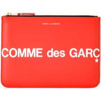 Taschen Damen Portemonnaie Comme Des Garcons Comme Des Garçons Etui Wallet Huge Logo in Leder Rot Rot