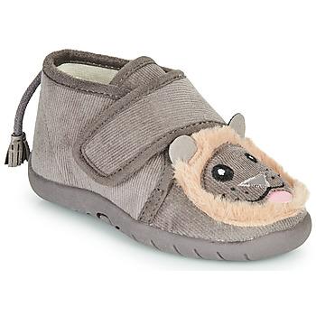 Schuhe Kinder Hausschuhe Little Mary LIONVELCRO Grau