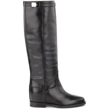 Schuhe Damen Klassische Stiefel Via Roma 15 Stiefel in schwarzem Glattleder mit silbernem Schwarz