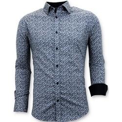 Kleidung Herren Langärmelige Hemden Tony Backer Maßgeschneiderte Slim Blau