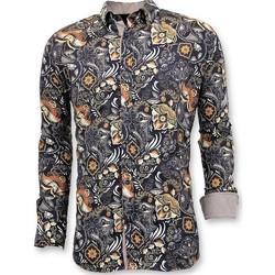 Kleidung Herren Langärmelige Hemden Tony Backer Separate Digital Printing Schwarz