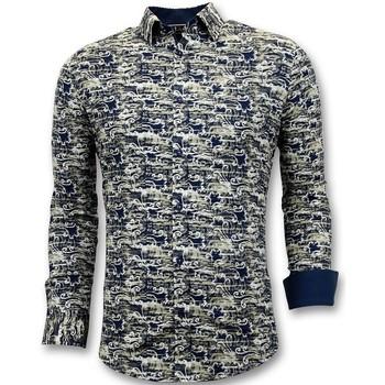 Kleidung Herren Langärmelige Hemden Tony Backer S Shirts Digital Printing Italian Blau
