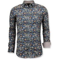 Kleidung Herren Langärmelige Hemden Tony Backer Italienisch Hemd DigitalBludruck Blau