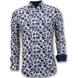 Kleidung Herren Langärmelige Hemden Tony Backer Twin Beiläufige Shirts Digital Printing Weiß