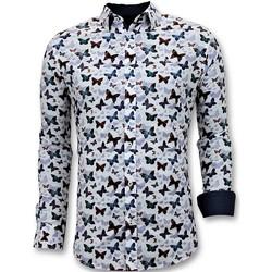 Kleidung Herren Langärmelige Hemden Tony Backer Digital Printing Schmetterlinge Weiß