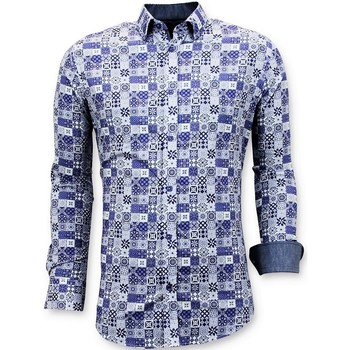 Kleidung Herren Langärmelige Hemden Tony Backer Exclusive Trendy Shirts Digital Printing Blau