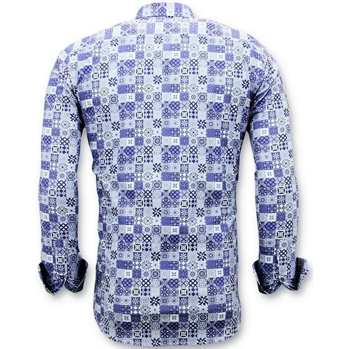 Tony Backer Exclusive Trendy Shirts Digital Printing Blau - Kleidung Langärmelige Hemden Herren 6499 4CetS