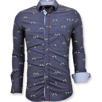 Kleidung Herren Langärmelige Hemden Tony Backer Italienische Bluse Digital Vogel Druck Blau