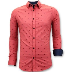 Kleidung Herren Langärmelige Hemden Tony Backer Italienische Bluse Slim Rot