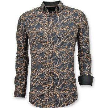 Kleidung Herren Langärmelige Hemden Tony Backer Stilvolle Shirt Digital Printing Schwarz