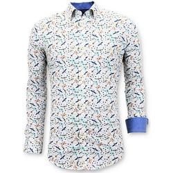 Kleidung Herren Langärmelige Hemden Tony Backer Digital Print Weiß