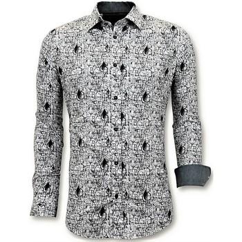 Kleidung Herren Langärmelige Hemden Tony Backer Eisen Digital Printing Weiß