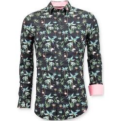 Kleidung Herren Langärmelige Hemden Tony Backer Beiläufige Shirts DigitalBludruck Schwarz