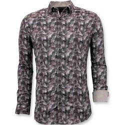 Kleidung Herren Langärmelige Hemden Tony Backer Slim Bluse Digital Printing Braun