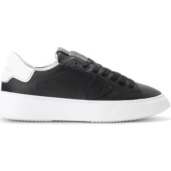 Schuhe Herren Sneaker Low Philippe Model Sneaker Temple in schwarzem Leder Schwarz