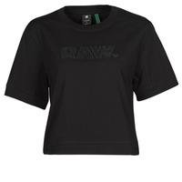 Kleidung Damen T-Shirts G-Star Raw BOXY FIT RAW EMBROIDERY TEE Schwarz