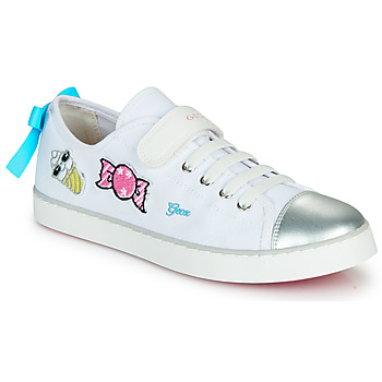 Schuhe Mädchen Sneaker Low Geox JR CIAK FILLE Weiss / Silbern