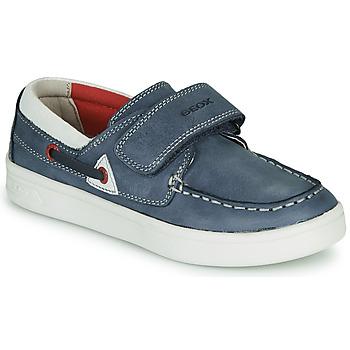 Schuhe Jungen Slipper Geox J DJROCK GARÇON Blau / Weiss