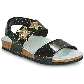 Schuhe Mädchen Sandalen / Sandaletten Geox J ADRIEL GIRL Schwarz / Gold
