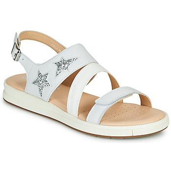 Schuhe Sandalen / Sandaletten Geox J SANDAL REBECCA GIR Weiss / Silbern