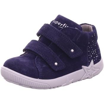 Schuhe Jungen Babyschuhe Superfit Klettschuhe Stiefelette Leder \ STARLIGHT 09436-80 blau