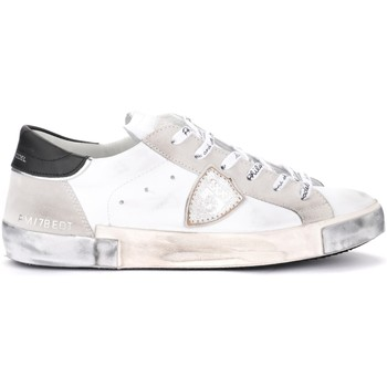 Schuhe Herren Sneaker Philippe Model Sneaker Paris X in Leder und Wildleder Weiss Grau
