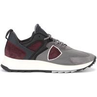 Schuhe Herren Sneaker Philippe Model Sneaker Royale in tessuto grigio e camoscio bordeaux Grau