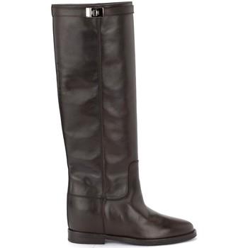 Schuhe Damen Klassische Stiefel Via Roma 15 Stiefel in Glattleder mit silberner Schnalle Braun