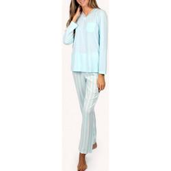 Kleidung Damen Pyjamas/ Nachthemden Admas Innenbekleidung Pyjamatop und lange Hosen Classic Stripes blau Blau