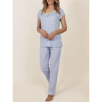 Kleidung Damen Pyjamas/ Nachthemden Admas Innenbekleidung Pyjama-T-Shirt Hose Frisch und weich blau Blau