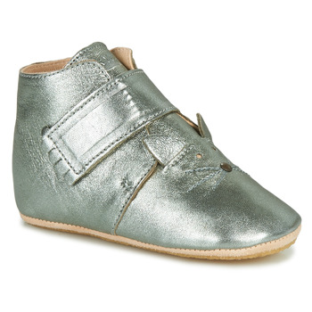Schuhe Kinder Hausschuhe Easy Peasy KINY CHAT MOU GRIS VERT MOU/PATIN
