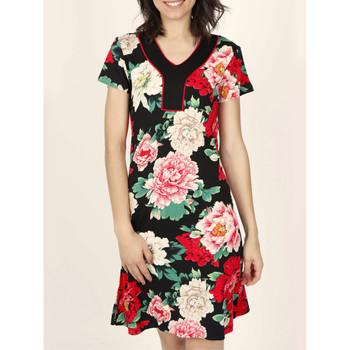 Kleidung Damen Kleider Admas Nachtblumen  kurzärmeliges Sommerkleid Elfenbein