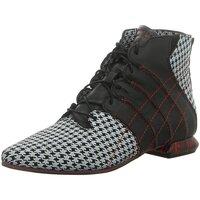 Schuhe Damen Low Boots Simen Stiefeletten 2851A WEISS/SCHWARZ schwarz