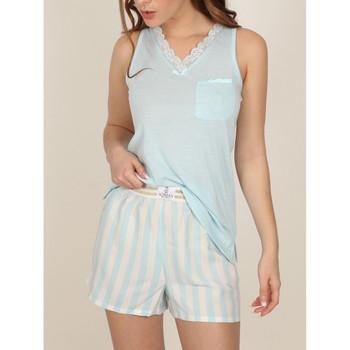 Kleidung Damen Pyjamas/ Nachthemden Admas Pyjama-Shorts Tank-Top Classic Stripes Blau