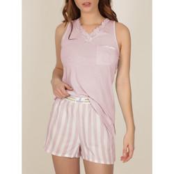 Kleidung Damen Pyjamas/ Nachthemden Admas Pyjama-Shorts Tank-Top Classic Stripes Zartrosa